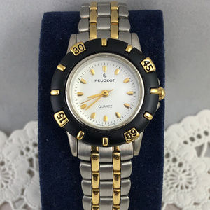 Vintage 1980's Peugeot 2 Tone Gold & Silver Watch